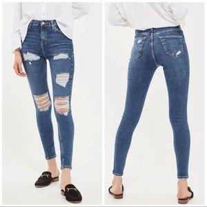 Topshop Jamie Super Rip High Rise Stretch Jeans 25
